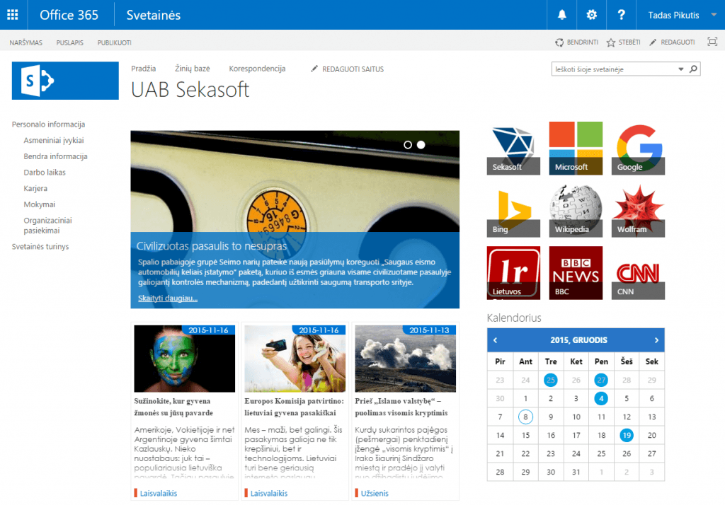 Office 365 pagrindinis